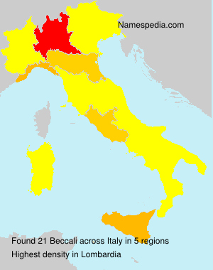 Surname Beccali in Italy