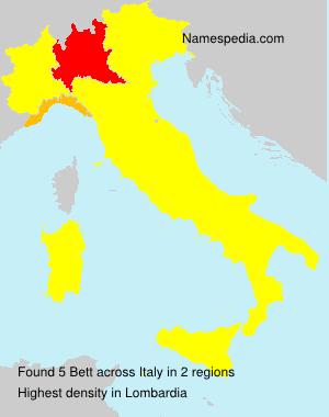 Familiennamen Bett - Italy