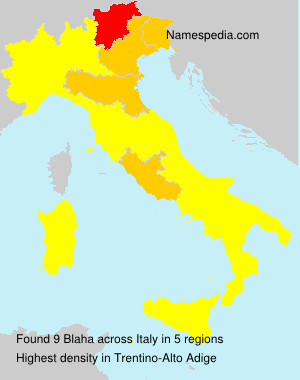 Surname Blaha in Italy