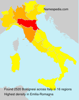 Surname Bolognesi in Italy
