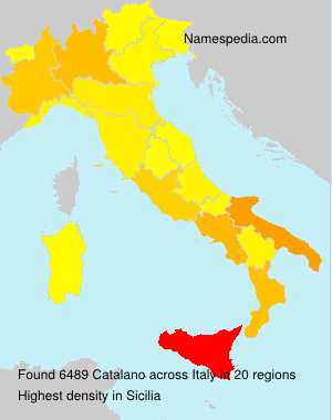 Surname Catalano in Italy