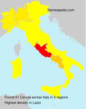 Surname Cencia in Italy