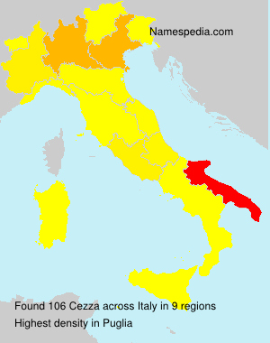 Surname Cezza in Italy
