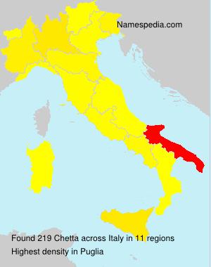 Familiennamen Chetta - Italy