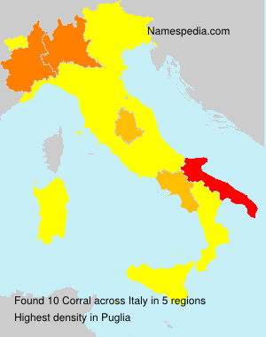 Surname Corral in Italy