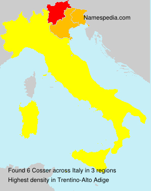 Surname Cosser in Italy