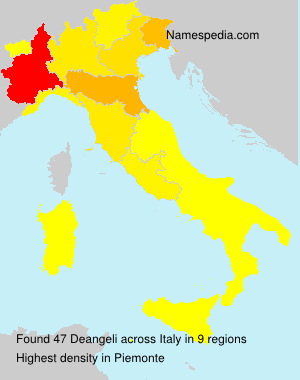 Surname Deangeli in Italy
