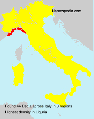Surname Decia in Italy