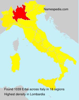 Surname Erba in Italy
