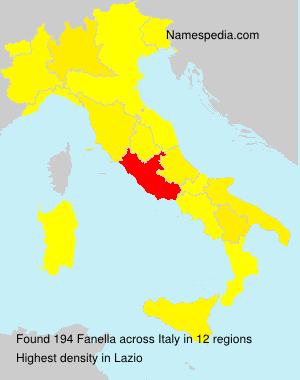 Surname Fanella in Italy