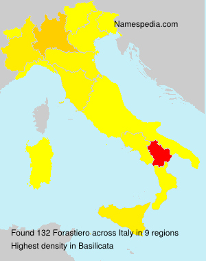 Surname Forastiero in Italy