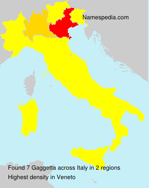 Surname Gaggetta in Italy