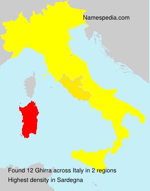 Familiennamen Ghirra - Italy