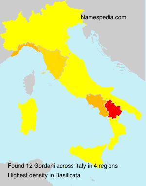 Surname Gordani in Italy