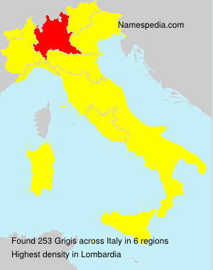 Surname Grigis in Italy