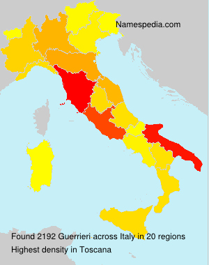 Surname Guerrieri in Italy