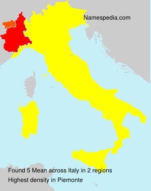 Familiennamen Mean - Italy