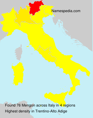 Surname Mengon in Italy