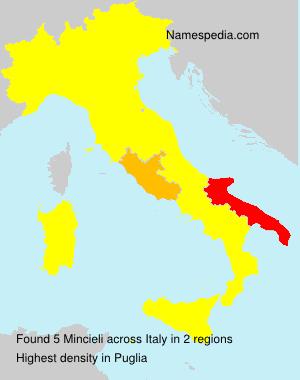 Surname Mincieli in Italy
