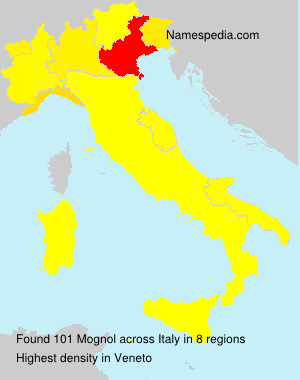 Surname Mognol in Italy