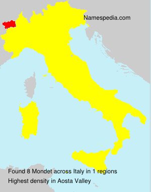 Surname Mondet in Italy