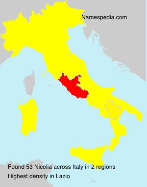 Surname Nicolia in Italy