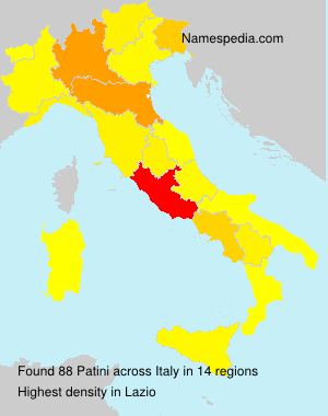 Surname Patini in Italy