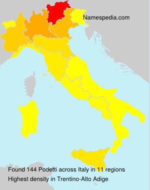 Familiennamen Podetti - Italy