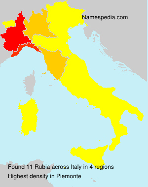 Surname Rubia in Italy