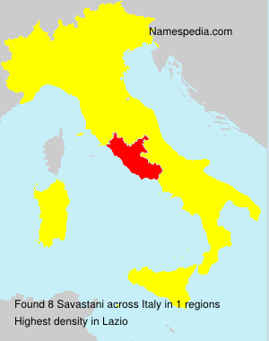 Surname Savastani in Italy