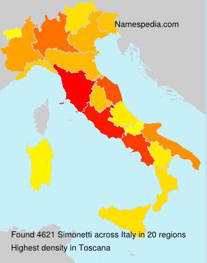 Surname Simonetti in Italy