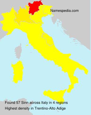 Familiennamen Sinn - Italy