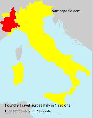 Surname Travet in Italy