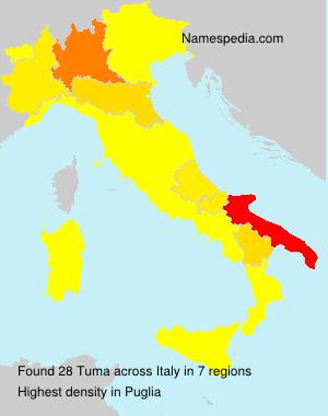 Surname Tuma in Italy