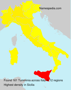 Surname Tumminia in Italy