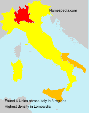 Surname Unica in Italy