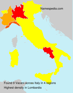 Surname Vacani in Italy