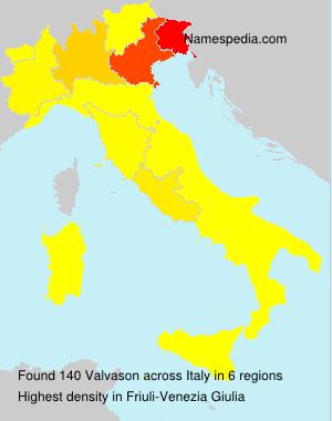 Surname Valvason in Italy