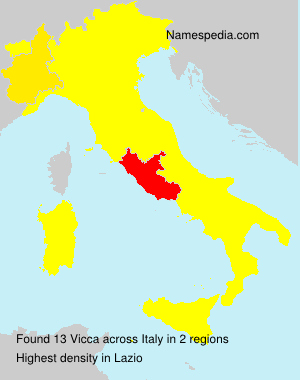 Surname Vicca in Italy