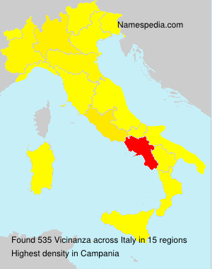 Surname Vicinanza in Italy