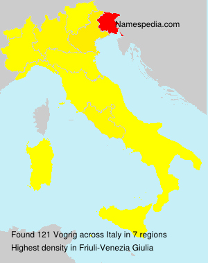 Surname Vogrig in Italy
