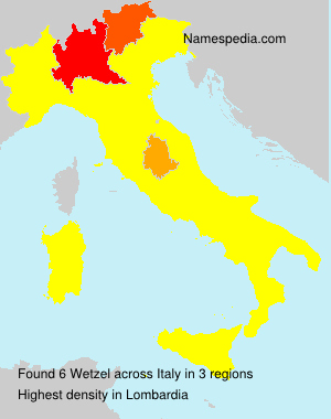 Surname Wetzel in Italy