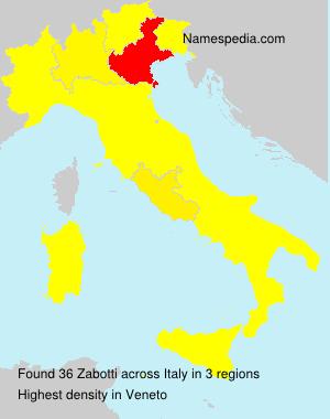 Surname Zabotti in Italy