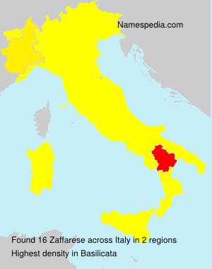 Surname Zaffarese in Italy