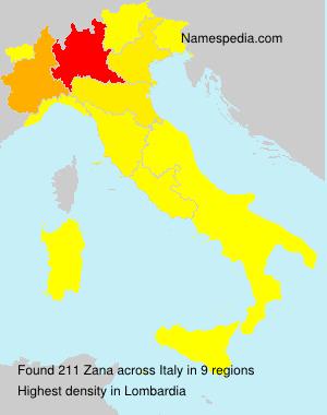 Surname Zana in Italy