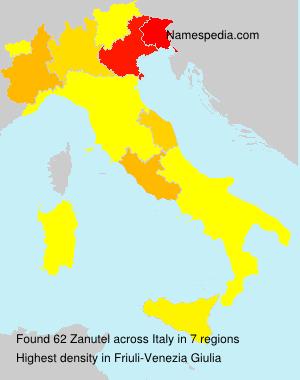 Surname Zanutel in Italy