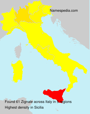 Surname Zignale in Italy