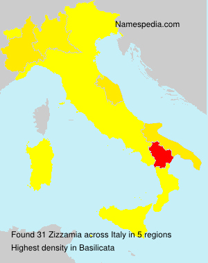 Surname Zizzamia in Italy