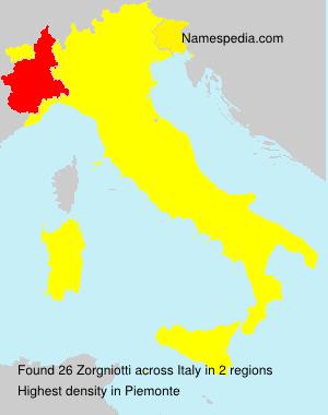 Surname Zorgniotti in Italy