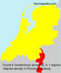 Surname Vandenhove in Netherlands